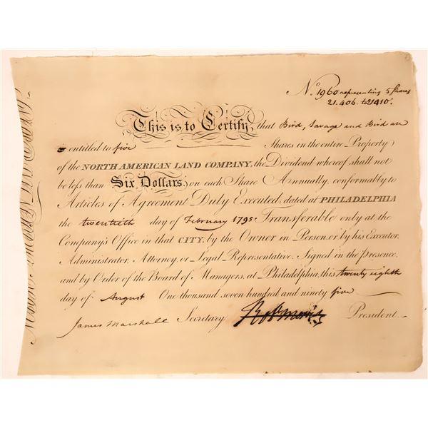 North American Land Company certificate signed by Robert Morris (Revolutionary War Financier & Decla