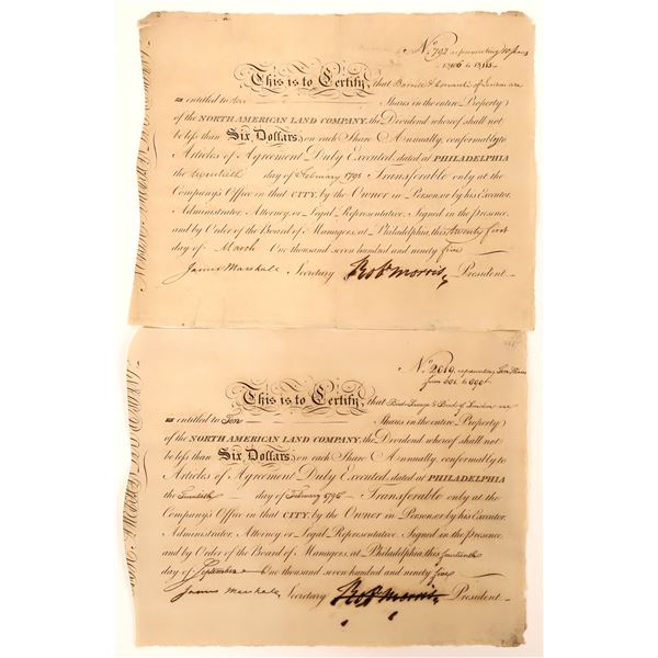 North American Land Company certificates signed by Robert Morris (Revolutionary War Financier & Decl