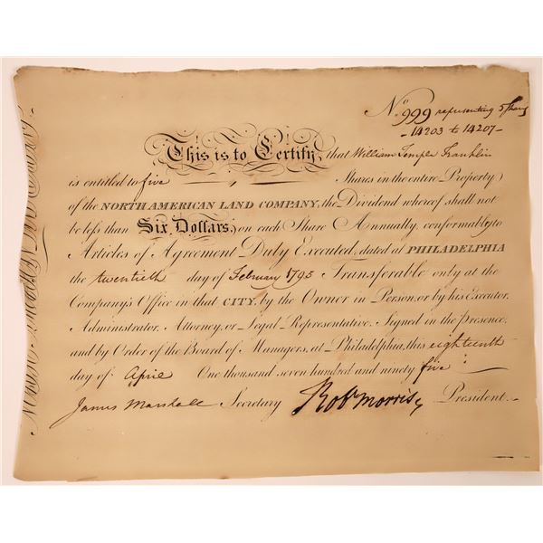 Robert Morris signed stock issued to Wm. Temple Franklin, grandson of Ben Franklin  [130224]
