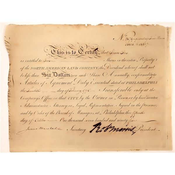 Stock with Robert Morris, James Marshall and James Rees signatures, 1795  [130226]