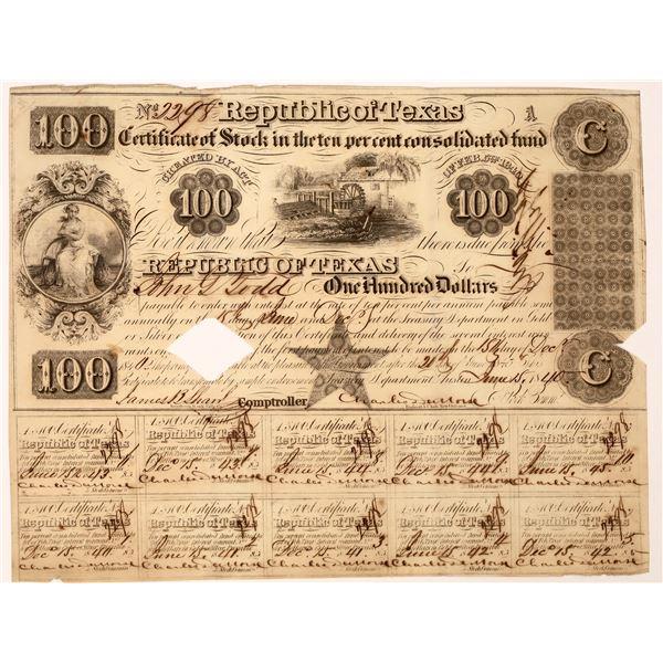 Republic of Texas Certificate of Stock, $100  [130229]