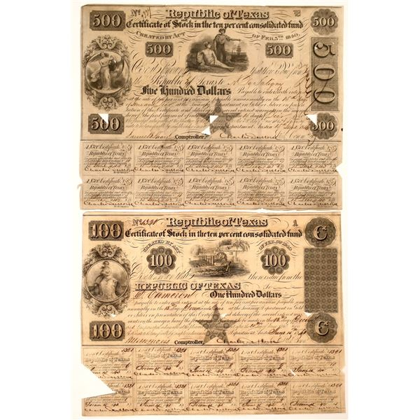 Republic of Texas Certificate of Stock, $100 and $500, 1840  [130236]