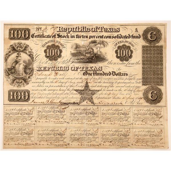 Republic of Texas Certificate of Stock, $100, 1840  [130234]