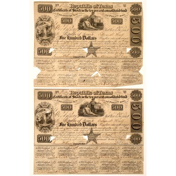 Republic of Texas Certificate of Stock, $500, 1840 (Lot of two)  [130235]