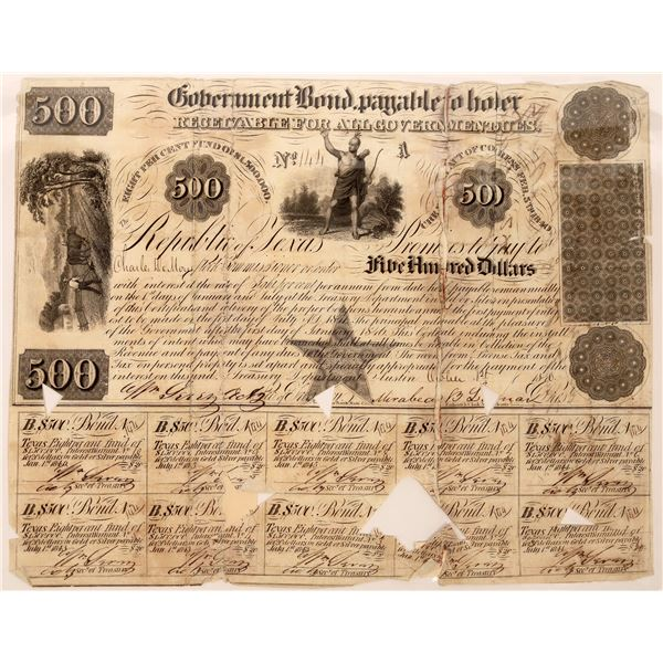 Republic of Texas Government Bond, $500, 1841 signed by Governor Lamar  [130233]