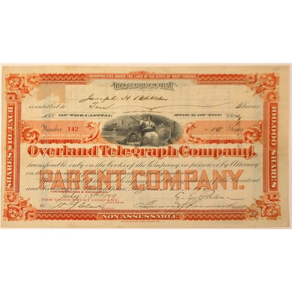 Overland Telegraph Company Stock Certificate, 1899  [131088]