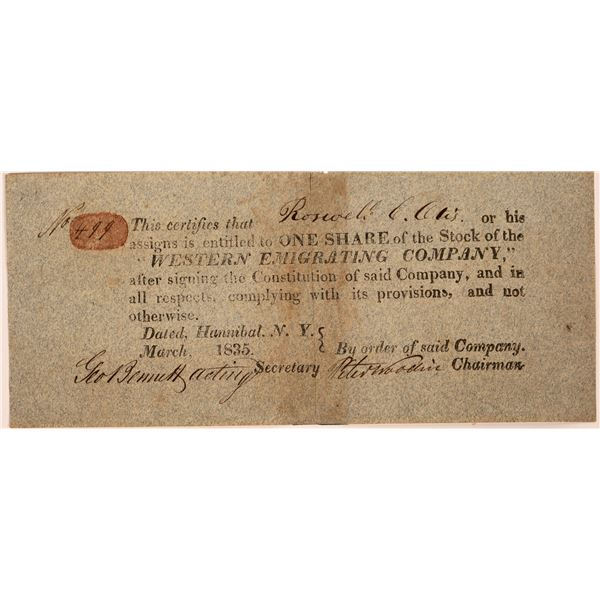 Western Emigrating Company Stock: Roswell Otis signature  [130266]