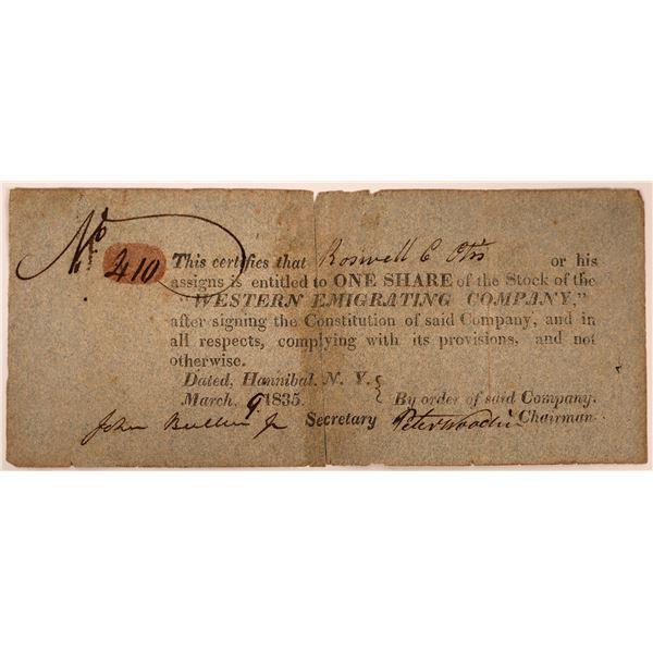 Western Emigrating Company Stock: Roswell Otis signature  [130267]