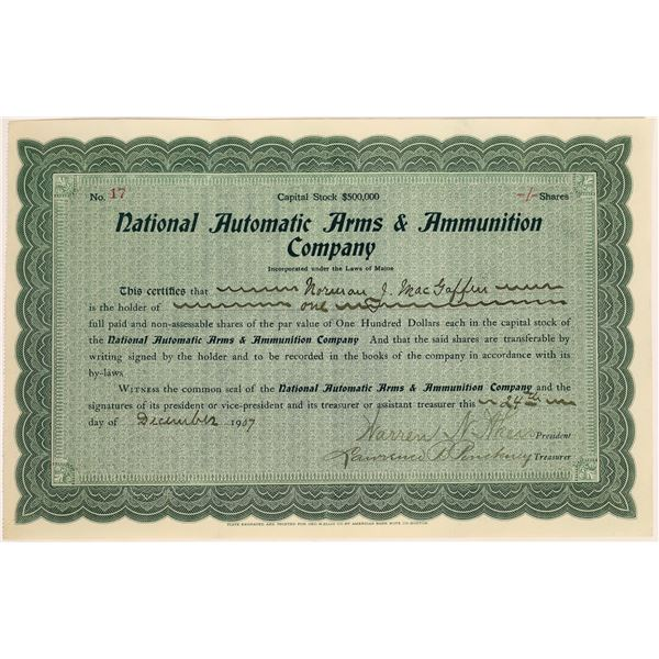 National Automatic Arms and Ammunition Company Stock Certificate  [127135]