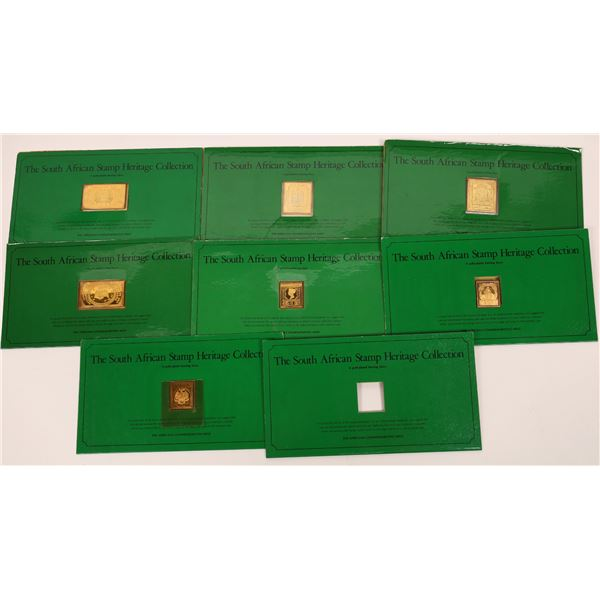 South African Heritage Collection Lot of 8 Gold-Plated Silver Stamps  [140740]