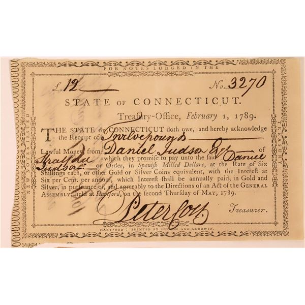 State of Connecticut Twelve Pound Note, 1789 (For Revolutionary War Solider)  [130265]