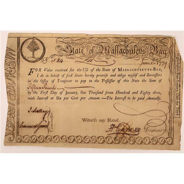 State of Massachusetts Bay Lottery Certificate, 1779 [130264]