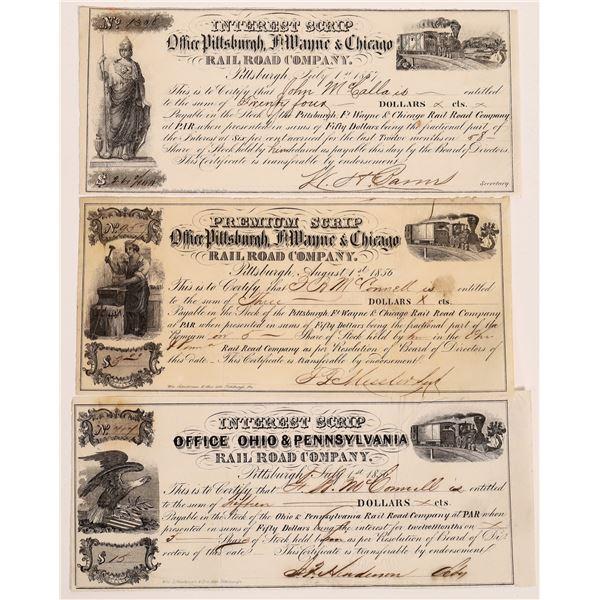 Ohio & Pennsylvania Rail Road Scrip, 1856  [130546]