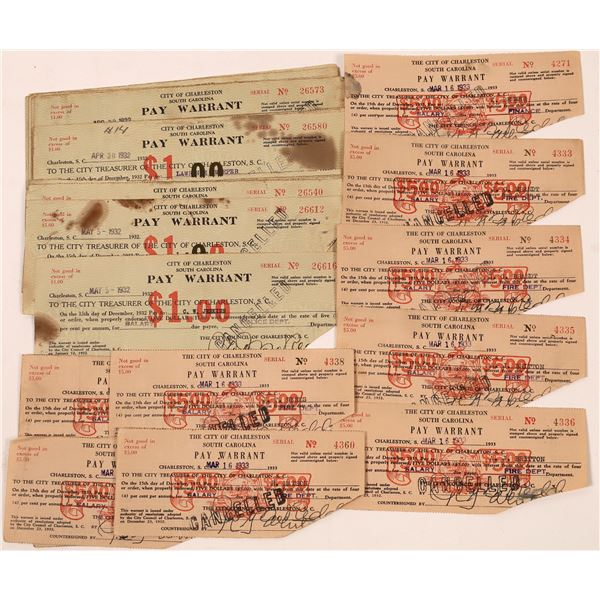 Pay Warrant Scrip from the City of Charleston South Carolina  [139248]