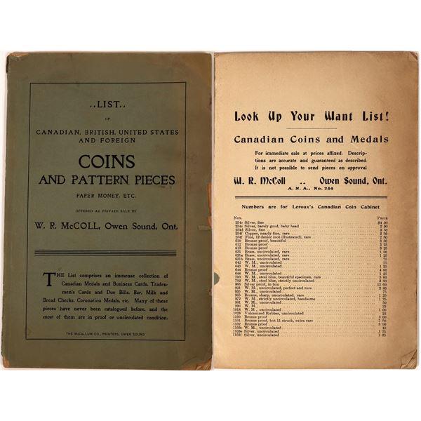Antique Coin Catalog from W.R. McColl, Owen Sound Ontario  [139026]