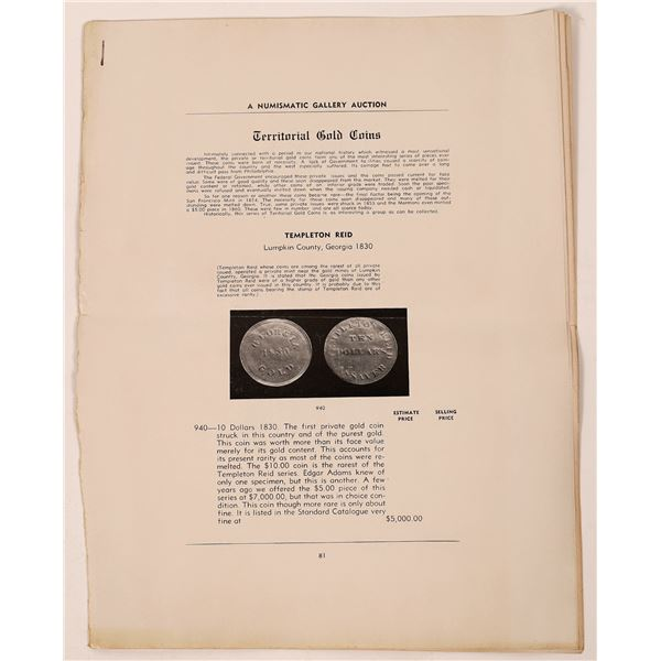Numismatic Gallery Auction Catalog of Territorial Gold Coins  [139393]