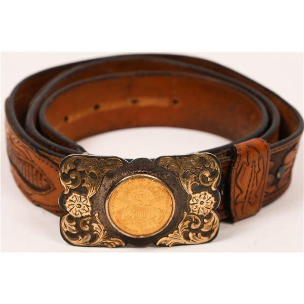 $20 Liberty Head Gold Piece Belt Buckle and Western Belt  [136201]