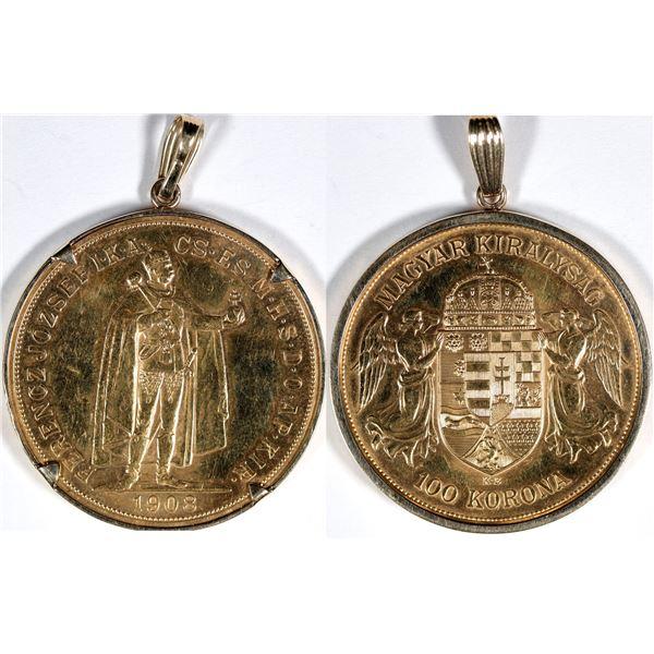 Austria 100 Korona Franz Josef Gold Piece with Bezel  [136189]