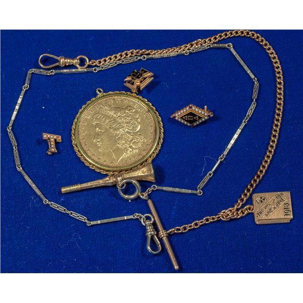 1892 Gold Toned Dollar Pendant  [140348]