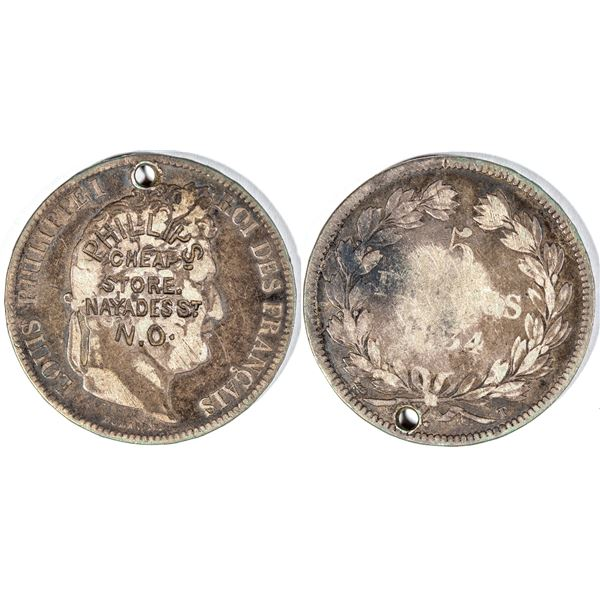 Counterstamped Five Franc French Silver Coin  [141005]