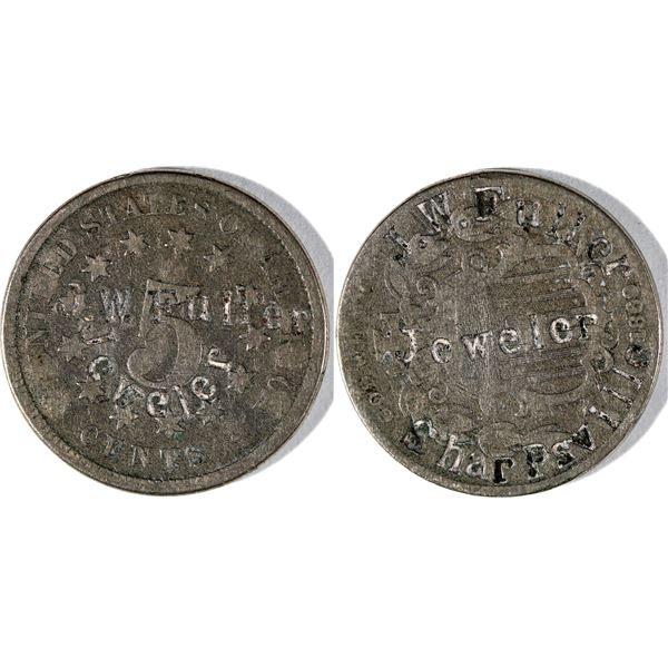 J.W. Fuller Counterstamped Shield Nickel  [141026]