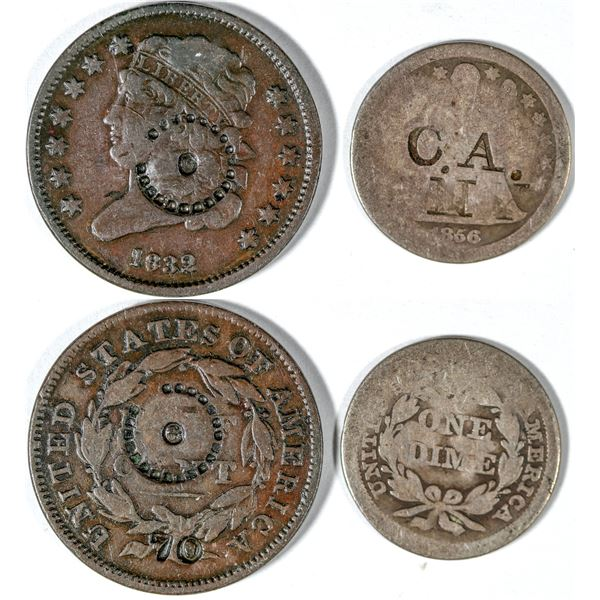 Counterstamped Half Cent and Dime  [140664]