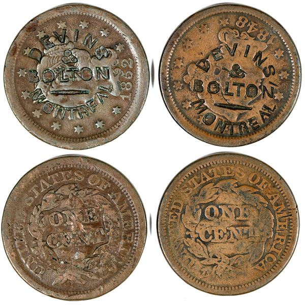 """Counterstamped Large Cents """"Devins & Bolton/Montreal""""  [140804]"""