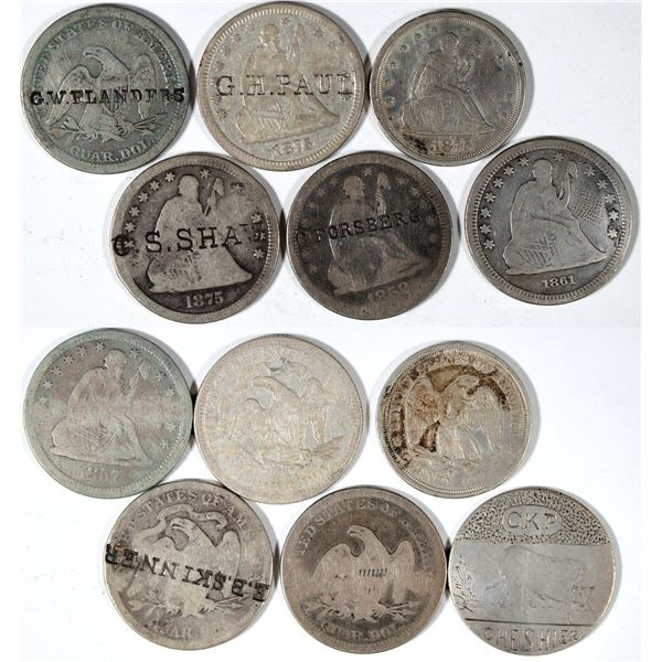 Counterstamped Liberty Seated Quarters  [140660]