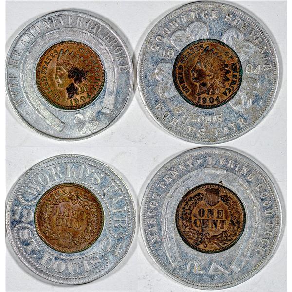 Louisiana Purchase Exposition World's Fair Encased Indian Head Pennies  [136246]