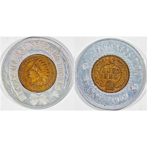 Alaska Yukon Pacific Exposition Encased Indian Head Penny  [136248]