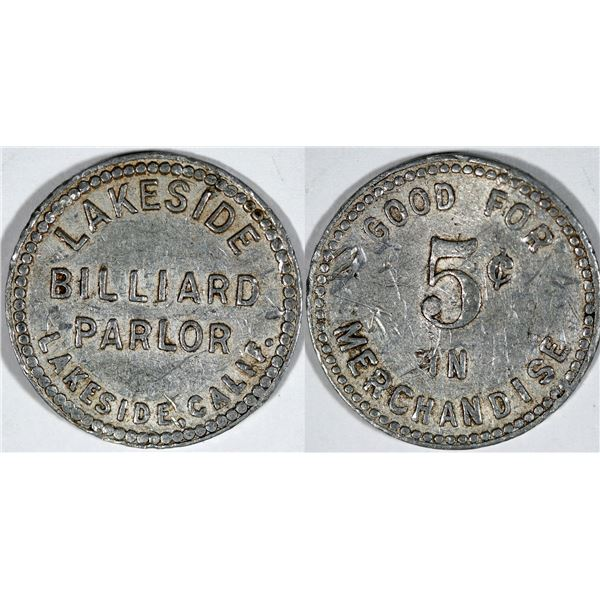 Lakeside Billiard Parlor Token  [140799]