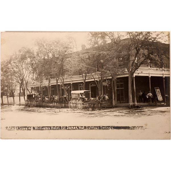 Rare James Hot Sulphur Springs Stage Postcard with Jesse James Connection  [130329]