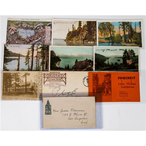 Early Lake Tahoe Postcards Plus Early Tahoe Tavern Pictorial Cover  [113650]