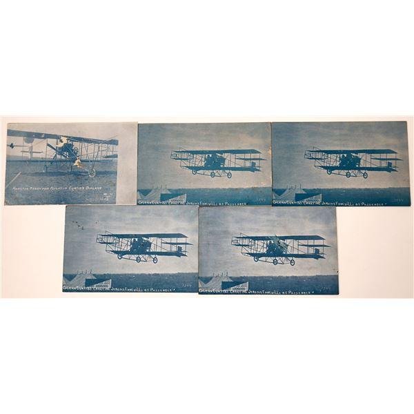 Los Angeles, California 1910 Air Show Featuring Glenn Curtiss Biplane Post Card Group (5)  [138713]