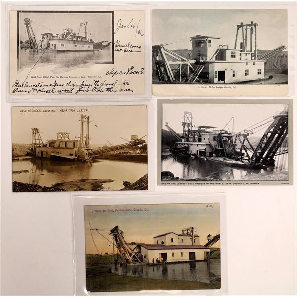 Oroville Gold Mining Vintage Post Card Collection (5 pieces)   [138223]