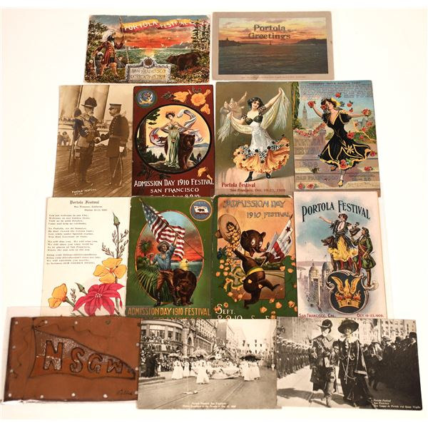 San Francisco, CA Portola & Admission Day Festivals Post Card Collection (13)  [139030]