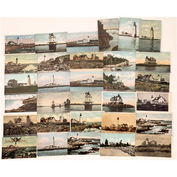 Early Color Lighthouse Postcards for Maine (31)  [139452]