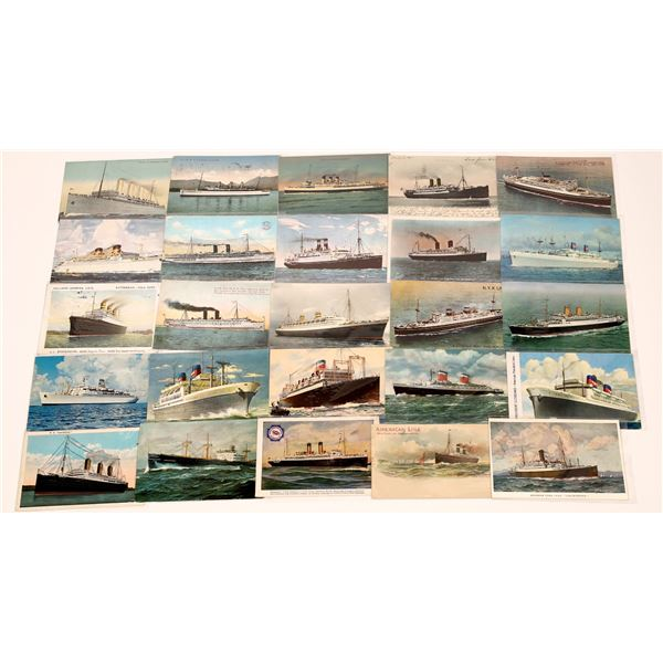 U.S. & Foreign Colorized Steamship Postcards (24)  [139450]