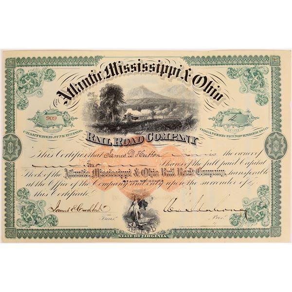 Extremely RARE Revenue Stamp Imprint on Atlantic, Mississippi & Ohio Railroad Company Stock  [130576