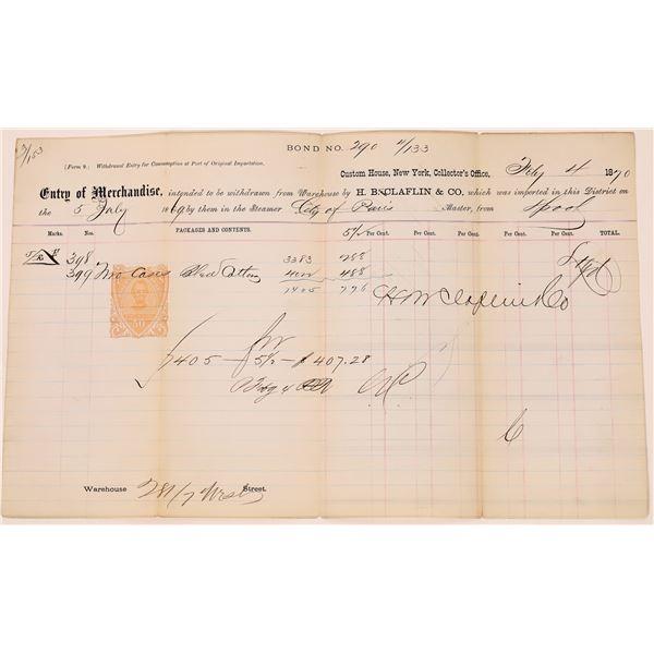 Custom House New York Receipt with RN V-4 Revenue Stamp  [139987]