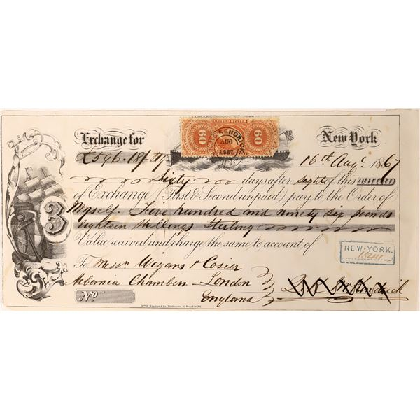 Third of Exchange with Rare Revenue Stamp  [139192]