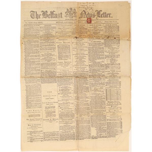 The Belfast Newsletter 1878 Edition w/ Stamp  [139333]