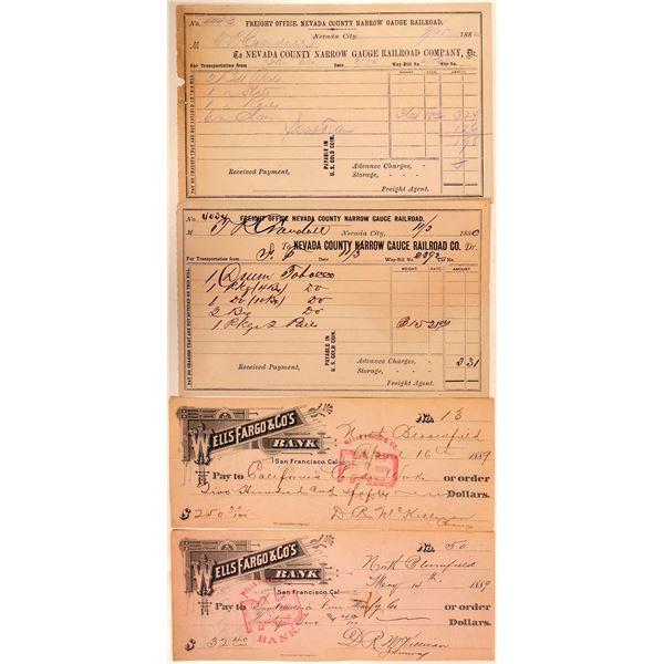 Nevada City Area Ephemera (Railroad & Explosives Checks)  [138161]