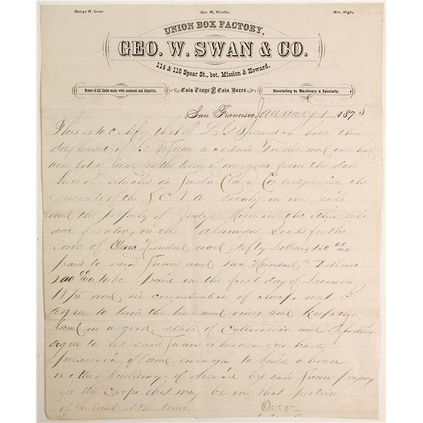Coin (Treasure) Box Manufacturer Letter  [138278]