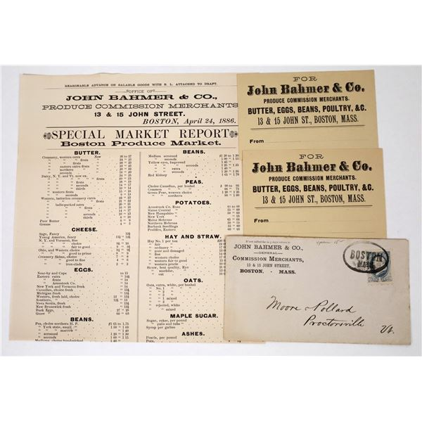 John Bahmer, Boston Produce Merchant Flyer, Cover and Business Cards (4)  [118655]