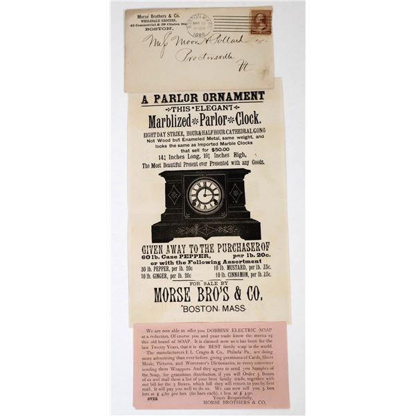 Morse Bros., Boston, Mass. Illustrated Handbill, 1886 & Mailing Envelope  [118629]