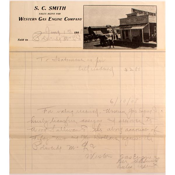 Goldfield, Nevada Photographic Billhead- S.C. Smith/ Western Gas Eng.  [138275]