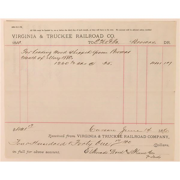 Virginia & Truckee Railroad Receipt from Brown's Station  [138208]