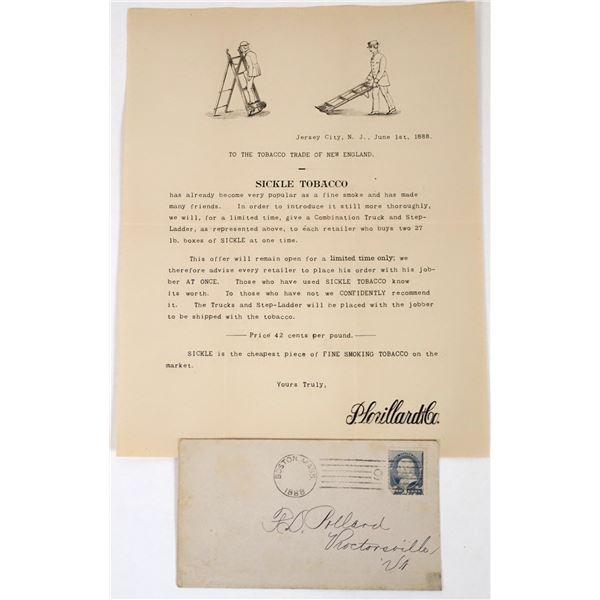P. Lorilard Letterhead for Sickle Tobacco w. Mailing Envelope, 1888  [118653]