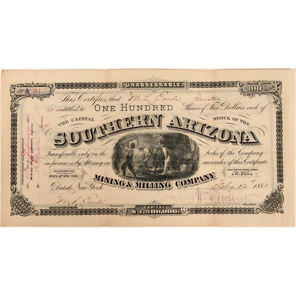 Southern Arizona Mining & Milling Co Stock, 1881  [118605]